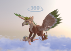 Size: 1069x775 | Tagged: safe, artist:v747, oc, oc only, oc:ralek, oc:teacup cake, earth pony, griffon, pony, 3d, carrying, cloud, flying, griffon oc, holding a pony