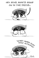 Size: 900x1341 | Tagged: safe, artist:chopsticks, oc, oc only, oc:chopsticks, pegasus, pony, angry, clothes, comic, cute, hat, i'm not cute, monochrome, sketch, solo, text