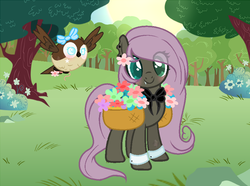 Size: 874x649 | Tagged: safe, artist:themisslittledevil, oc, oc:meadow, bird, changepony, earth pony, hybrid, owl, pony, base used, basket, colored pupils, cute, cute little fangs, fangs, female, flower, interspecies offspring, magical lesbian spawn, mare, offspring, parent:fluttershy, parent:queen chrysalis, parents:chrysashy, saddle basket, solo