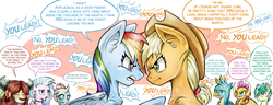 Size: 2615x1000 | Tagged: safe, artist:brother-lionheart, applejack, gallus, ocellus, rainbow dash, sandbar, silverstream, smolder, yona, changedling, changeling, classical hippogriff, dragon, earth pony, griffon, hippogriff, pegasus, pony, yak, non-compete clause, argument, comic, dragoness, ear fluff, female, male, mare, shipper on deck, student six, sugarcube, teenager