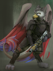 Size: 1543x2072 | Tagged: armor, artist:blvckmagic, fallout equestria, griffon, gun, oc, oc only, rifle, safe, solo, weapon