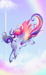 Size: 1024x1658 | Tagged: artist:hagallaz, big ears, chest fluff, colored wings, female, flying, mare, multicolored wings, :p, pegasus, pony, rainbow dash, safe, solo, tongue out, unshorn fetlocks