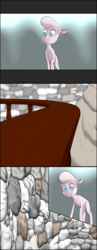 Size: 2800x7200 | Tagged: safe, artist:twiwrite-flare, pom lamb, sheep, comic:the adventures of pom the sheep, them's fightin' herds, adventure, chamber, comic, community related, crotchboobs, ewe, flashback, looking around, nipples, nudity, prologue, stone wall, tasteful nudity, teats