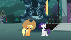 Size: 1280x720 | Tagged: safe, screencap, apple bloom, applejack, rarity, sweetie belle, trixie, earth pony, pony, unicorn, magic duel, spoiler:s03, :o, applejack's hat, cowboy hat, cute, disguise, duo, female, filly, hat, jackabetes, looking at you, open mouth, overcast, oversized hat, raribetes, statue, wide eyes