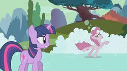 Size: 1280x720 | Tagged: safe, screencap, pinkie pie, twilight sparkle, earth pony, pony, unicorn, the return of harmony, angry, discorded, duo, female, mare, meanie pie, skating, soap, soap roads, suds, unicorn twilight