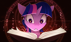 Size: 2100x1250 | Tagged: safe, artist:yakovlev-vad, twilight sparkle, pony, art, book, eye clipping through hair, female, fire, flame eyes, magic, magic circle, mare, open book, red lightning, solo, this will not end well, wingding eyes