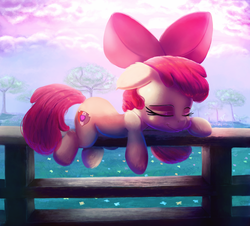 Size: 2000x1804   Tagged: safe, artist:discorded, apple bloom, earth pony, pony, adorabloom, bow, cute, cutie mark, eyes closed, female, fence, filly, floppy ears, hair bow, prone, sleeping, solo, the cmc's cutie marks