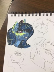 Size: 960x1280 | Tagged: safe, artist:nightmare-moons-throneroom, princess luna, pony, bust, coat markings, constellation, crying, dappled, ear fluff, ethereal mane, fangs, female, mare, nightmare luna, sketch, sketch dump, solo, starry mane, traditional art