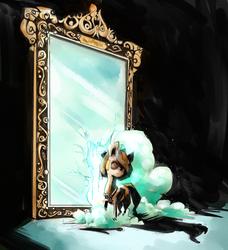 Size: 2310x2535   Tagged: safe, artist:artguydis, oc, oc only, oc:raggie, hagwarders, original species, mirror, solo