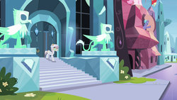 Size: 1280x720 | Tagged: agate, amethyst maresbury, crystal empire, crystal griffon, crystal pony, depressed, female, male, mare, pony, rubinstein, safe, screencap, stairs, stallion, statue, the crystal empire