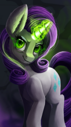 Size: 1080x1920 | Tagged: artist:camyllea, cutie mark, dark magic, female, glowing horn, green eyes, inspirarity, inspiration manifestation, looking at you, magic, mare, pony, possessed, rarity, safe, solo, unicorn