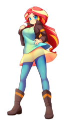 Size: 1930x3477 | Tagged: artist:fizintine, boots, breasts, busty sunset shimmer, clothes, commission, cute, dress, equestria girls, female, jacket, leather jacket, looking at you, moe, pants, safe, shoes, simple background, smiling, solo, sunset shimmer, white background