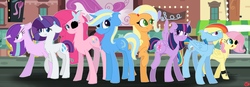 Size: 1023x354 | Tagged: safe, artist:natimlp, applejack, fluttershy, pinkie pie, rainbow dash, rarity, starlight glimmer, trixie, twilight sparkle, alicorn, female, flutterpie, glimmerdash, lesbian, rarilight, shipping, tripplejack, twilight sparkle (alicorn)