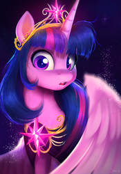 Size: 2787x3989 | Tagged: dead source, safe, artist:imalou, twilight sparkle, alicorn, pony, 2018, beautiful, cheek fluff, clothes, cute, detailed, ear fluff, element of magic, everfree northwest, female, fluffy, glowing, gradient background, leg fluff, looking at you, mare, neck fluff, open mouth, solo, sparkles, spread wings, twiabetes, twilight sparkle (alicorn), wide eyes, wings
