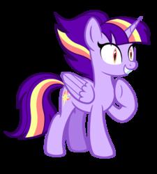 Size: 1296x1440 | Tagged: safe, artist:thecheeseburger, twilight sparkle, alicorn, pony, alternate universe, antagonist, female, mare, raised hoof, simple background, slit pupils, solo, transparent background, twilight sparkle (alicorn), underhoof
