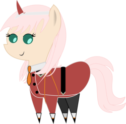 Size: 3723x3664 | Tagged: safe, artist:dashfire61, pony, clothes, cute, darling in the franxx, pointy ponies, simple background, solo, transparent background, uniform, zero two (darling in the franxx)