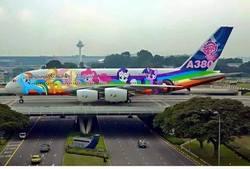 Size: 720x488 | Tagged: safe, edit, applejack, fluttershy, pinkie pie, rainbow dash, rarity, twilight sparkle, airbus a380, airport, changi airport, irl, mane six, my little pony logo, photo, photoshop, plane, road, singapore, singapore airlines, tree