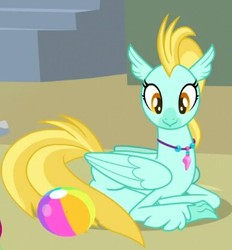 Size: 387x417 | Tagged: safe, screencap, coral dust, classical hippogriff, hippogriff, surf and/or turf, background hippogriff, ball, beach ball, cropped, female, jewelry, necklace, prone, sand, smiling, solo