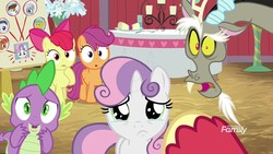Size: 1920x1080   Tagged: safe, screencap, apple bloom, big macintosh, discord, scootaloo, spike, sweetie belle, draconequus, dragon, earth pony, pegasus, pony, unicorn, the break up breakdown, bowtie, candle, crying, cute, cutie mark crusaders, diasweetes, discovery family logo, female, flower, hay, male, offscreen character, open mouth, pov, sad, sadorable, teary eyes, woobie