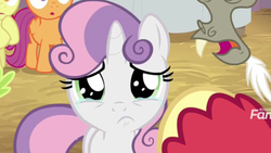 Size: 2208x1242   Tagged: safe, screencap, apple bloom, big macintosh, discord, scootaloo, sweetie belle, pony, unicorn, the break up breakdown, crying, cute, cutie mark crusaders, diasweetes, female, filly, looking at you, sad, sadorable, solo focus, teary eyes, woobie