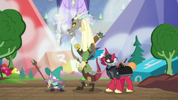 Size: 1280x720 | Tagged: safe, screencap, big macintosh, discord, spike, draconequus, dragon, pony, unicorn, dungeons and discords, arrow, bow (weapon), braid, captain wuzz, dice, dungeons and dragons, garbuncle, hat, helmet, horned helmet, magic staff, male, ogres and oubliettes, parsnip, quiver, race swap, sir mcbiggen, stallion, unicorn big mac, wizard, wizard hat