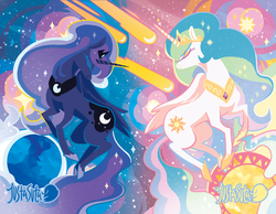 Size: 1160x900 | Tagged: safe, artist:justasuta, princess celestia, princess luna, alicorn, pony, abstract background, comet, crown, eyes closed, female, hoof shoes, hooves, horn, jewelry, lineless, mare, moon, night, profile, regalia, royal sisters, shooting star, sisters, sky, space, starry night, stars, sun, tiara, wings