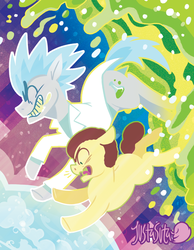 Size: 900x1157 | Tagged: artist:justasuta, clothes, colt, crossover, earth pony, grannies gone wild, lab coat, male, morty smith, ponified, pony, pony morty, pony rick, rick and morty, rick sanchez, safe, smiling, stallion