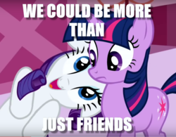 Size: 991x773 | Tagged: cropped, edit, edited screencap, flirting, image macro, implied lesbian, implied rarilight, implied shipping, meme, nuzzling, rarity, safe, screencap, the ticket master, twilight sparkle