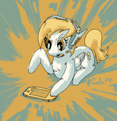 Size: 1322x1374 | Tagged: artist:fundz64, color palette challenge, derpy hooves, d.va headphones, focused, gameboy advance, game over, headset, limited palette, lying down, safe, solo