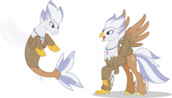 Size: 1024x582 | Tagged: safe, artist:mlp-trailgrazer, oc, oc only, oc:silver quill, classical hippogriff, hippogriff, seapony (g4), classical hippogriffied, duality, feathered fetlocks, hippogriff oc, hippogriffied, jewelry, male, necklace, open beak, raised claw, redesign, seaponified, seapony oc, seapony silver quill, simple background, solo, species swap, spread wings, transparent background, wings