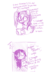 Size: 654x921 | Tagged: safe, artist:whydomenhavenipples, oc, oc only, oc:floor bored, oc:taku, earth pony, pony, backpack, bags under eyes, braces, clothes, comic, dialogue, door, duo, female, flies, floppy ears, glasses, hoodie, hoof hold, mare, messy mane, monochrome, nervous, nervous sweat, otaku, peeking, scared, shrunken pupils, simple background, sweat, sweater, white background