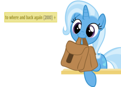 Size: 5784x4182 | Tagged: safe, artist:nightshadowmlp, artist:sollace, trixie, pony, unicorn, derpibooru, to where and back again, absurd resolution, cute, derpimilestone, diatrixes, female, mare, meta, mouth hold, saddle bag, solo, tags, to saddlebags and back again