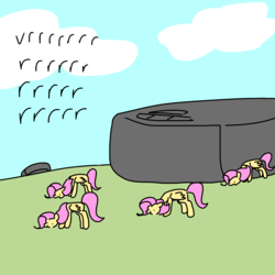 Size: 2000x2000 | Tagged: safe, artist:pencilbrony, fluttershy, pegasus, pony, dialogue, female, flock, grazing, herbivore, herd, horses doing horse things, mare, multeity, onomatopoeia, role reversal, roomba, roombashy, so much flutter, tiny ponies, vrrr, wat