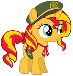 Size: 2853x3000 | Tagged: artist:ahsokafan100, clothes, cute, female, filly, filly guides, filly sunset, hat, safe, shimmerbetes, simple background, smol, solo, sunset shimmer, transparent background, uniform, vector, weapons-grade cute, younger