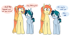 Size: 1280x641 | Tagged: safe, artist:redxbacon, oc, oc only, oc:delta vee, oc:sunny lane, oc:trash, earth pony, pegasus, pony, dialogue, female, grammar error, lesbian, looking at you, mare, nervous, oc x oc, shipping, simple background, smiling, sweat, trashvee, white background