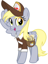 Size: 5177x6935 | Tagged: safe, artist:jhayarr23, derpy hooves, pegasus, pony, the break up breakdown, absurd resolution, clothes, female, hat, looking at you, mailmare, mailmare hat, mare, salute, shirt, simple background, transparent background, vector