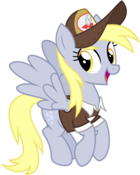 Size: 2560x3200 | Tagged: safe, artist:cheezedoodle96, derpy hooves, pegasus, pony, .svg available, clothes, female, flying, hat, looking at you, mailmare, mailmare hat, mare, shirt, simple background, smiling, solo, svg, transparent background, vector
