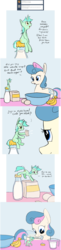 Size: 1516x6260 | Tagged: artist:tiny-little-lyra, ask, banana, bon bon, bowl, comic, dialogue, earth pony, egg (food), female, food, lesbian, looking at each other, lyrabon, lyra heartstrings, mare, measuring cup, micro, milk, milk bottle, mouth hold, pony, pouring, recipe, safe, shipping, sitting, size difference, smiling, sweetie drops, tumblr, unicorn