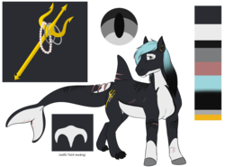 Size: 1600x1187 | Tagged: artist:blackblood-queen, ear piercing, earth pony, hybrid, looking at you, male, oc, oc:mako, oc only, orca pony, original species, piercing, pony, reference sheet, safe, scar, simple background, solo, stallion, transparent background