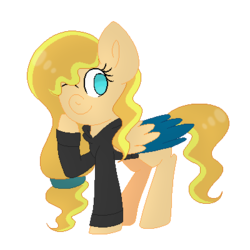 Size: 400x400 | Tagged: artist:mintoria, clothes, female, hoodie, mare, oc, oc:sundance, one eye closed, pegasus, pony, safe, simple background, solo, transparent background, two toned wings, wink