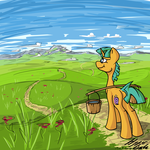 Size: 4000x4000 | Tagged: safe, artist:hyper dash, snails, pony, unicorn, bucket, carrying, field, grass, looking away, male, mountain, outdoors, road, solo, standing, yoke