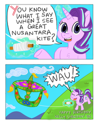 Size: 1600x2000 | Tagged: artist:thedriveintheatre, asia, brunei, bulan wau kite, comic, dialogue, female, glowing horn, indonesia, kelly sheridan, kite, kite flying, malay, malaysia, mare, meme, pony, pun, safe, singapore, solo, southeast asia, starlight glimmer, thailand, that pony sure does love kites, unicorn, wow! glimmer