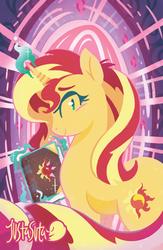 Size: 587x900 | Tagged: safe, artist:justasuta, sunset shimmer, pony, unicorn, book, female, glowing horn, horn, levitation, lineless, magic, magic aura, mare, solo, telekinesis