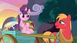 Size: 1920x1080 | Tagged: apple, big macintosh, cart, cute, discovery family logo, duo, earth pony, female, food, male, mare, mud, muddy, pony, safe, screencap, shipping, stallion, straight, sugar belle, sugarbetes, sugarmac, the break up breakdown, unicorn