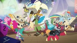 Size: 1280x720 | Tagged: safe, screencap, big macintosh, discord, pinkie pie, rainbow dash, spike, draconequus, dragon, pegasus, pony, unicorn, dungeons and discords, bard, bard pie, black knight, captain wuzz, dungeons and dragons, fantasy class, female, garbuncle, helmet, horned helmet, male, mare, ogres and oubliettes, parsnip, race swap, rainbow rogue, rogue, sir mcbiggen, stallion, unicorn big mac, wizard