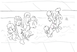 Size: 742x498 | Tagged: artist needed, safe, applejack, fluttershy, pinkie pie, rainbow dash, rarity, twilight sparkle, alicorn, earth pony, pegasus, pony, unicorn, black and white, description is relevant, drawthread, female, grayscale, hoof hold, mallet, mane six, mare, monochrome, neo noir, partial color, ponies riding ponies, request, saddle, simple background, sports, string bikini, swimming, swimming pool, tack, twilight sparkle (alicorn), water, water polo, white background