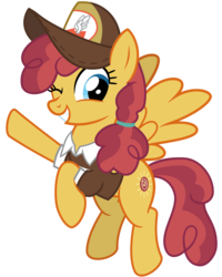 Size: 3200x4000 | Tagged: safe, artist:cheezedoodle96, sunny delivery, pegasus, pony, the break up breakdown, .svg available, background pony, clothes, female, flying, hat, looking at you, mailmare, mailmare hat, mare, one eye closed, shirt, simple background, smiling, solo, svg, transparent background, vector, waving, wink