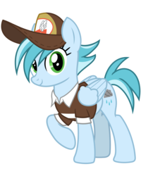Size: 3200x4000 | Tagged: artist:cheezedoodle96, background pony, clothes, female, hat, looking at you, mailmare, mailmare hat, mare, pegasus, pony, rainy day, raised hoof, safe, shirt, simple background, smiling, solo, svg, .svg available, the break up breakdown, transparent background, vector