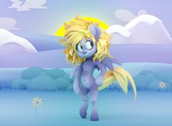 Size: 2553x1871 | Tagged: safe, artist:extradan, derpy hooves, oc:jerky hooves, pegasus, pony, 3d, scenery