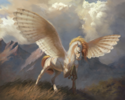 Size: 2000x1596 | Tagged: safe, artist:bra1neater, oc, oc only, oc:silent flight, hippogriff, horse, chest fluff, cloud, cloudy, fine art emulation, fluffy, grass, looking at something, male, mountain, mountain range, raised claw, raised hoof, realistic wings, solo, spread wings, talons, wings